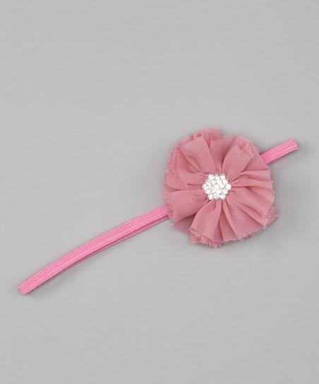 Dusty Rose Rhinestone Flower Headband