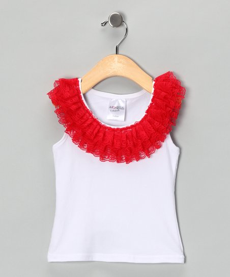 White & Red Lace Ruffle Tank - Toddler