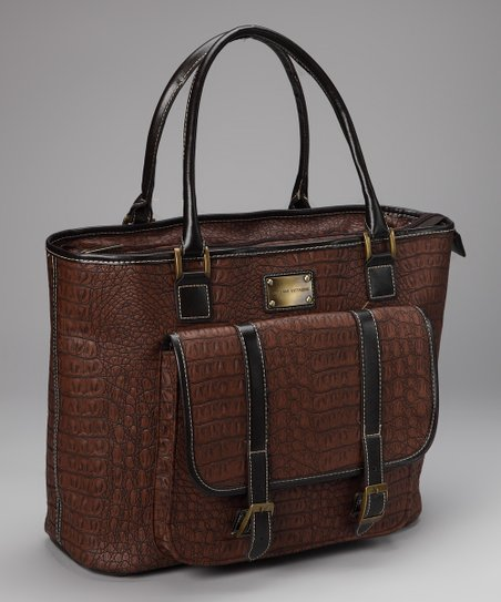 Brown Crocodile Pocket Laptop Tote
