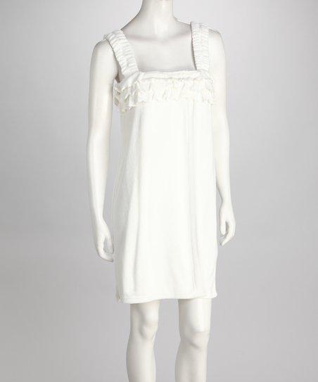 White Ruffle Terry Wrap Robe – Women