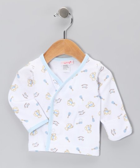 White & Blue Bear Wrap Top - Infant