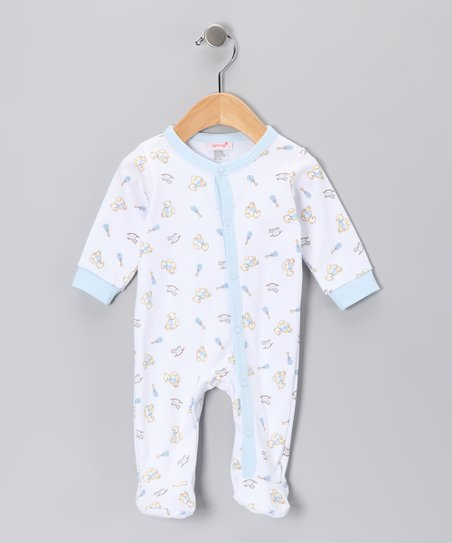 White & Blue Bear Footie - Infant