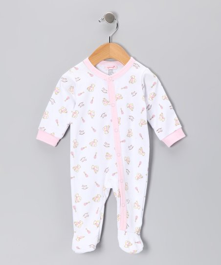White & Pink Bear Footie - Infant