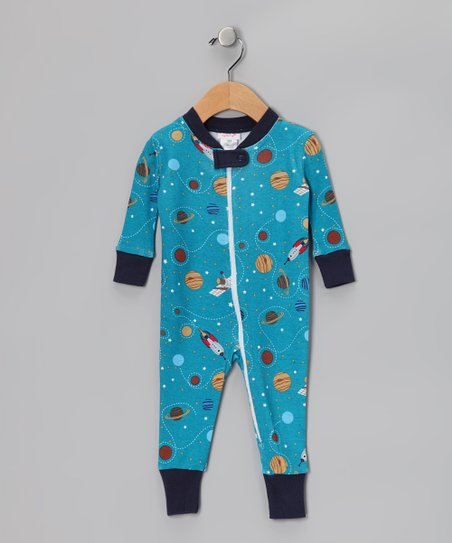 Blue Spaceship Organic Playsuit - Infant