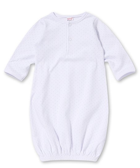 White & Blue Pin Dot Henley Gown - Infant