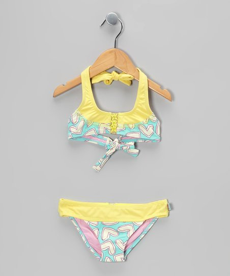 Yellow &amp; Aqua Heart Bikini - Toddler &amp; Girls