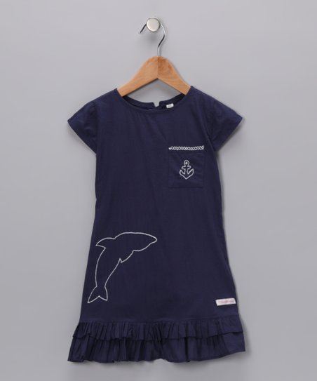 Navy Embroidered Nautical Dress - Infant, Toddler & Girls