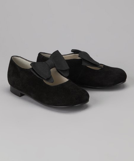 Black Bow Leather Flat