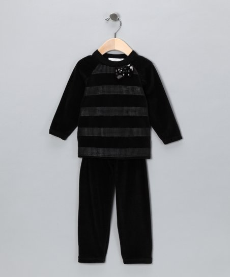 Black & Gray Velour Stripe Top & Pants - Infant, Toddler & Girls