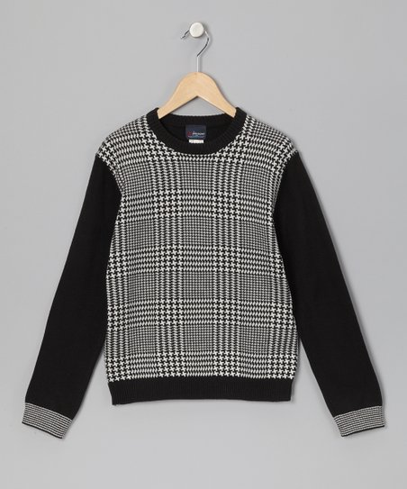Black &amp; White Gingham Sweater - Boys
