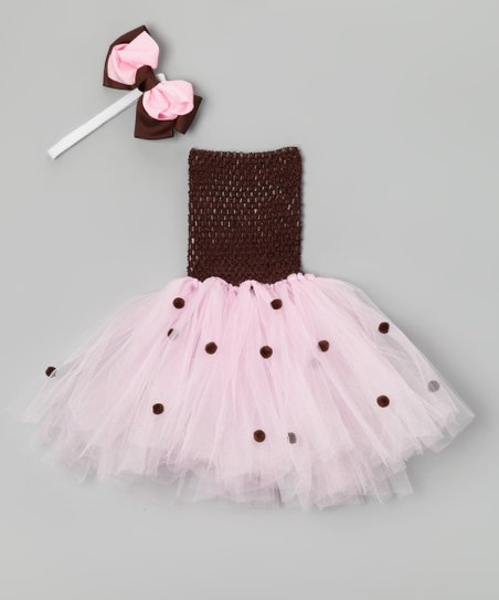 Brown & Pink Polka Dot Dress & Headband – Infant & Toddler