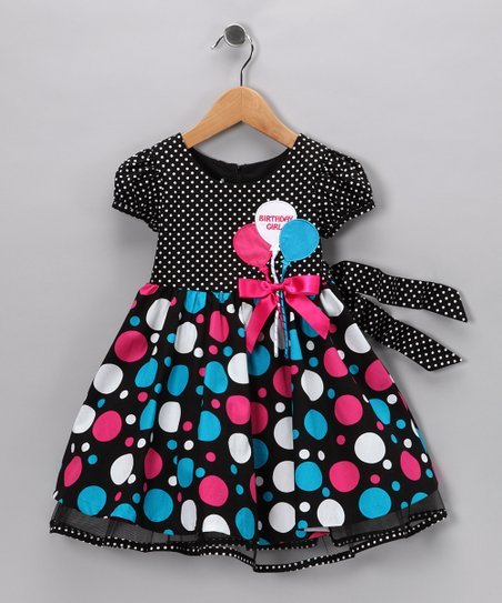Black & Blue Balloon 'Birthday Girl' Dress - Toddler & Girls