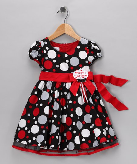 Red & Black Polka Dot 'Happy Birthday' Dress - Toddler & Girls