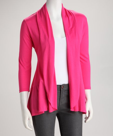 Electric Pink Open Cardigan