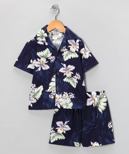 Navy Hibiscus Button-Up & Shorts - Infant & Toddler