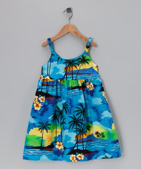 Blue Hawaiian Sunset Dress - Infant & Toddler