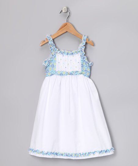 White & Blue Floral Ruffle Carte Dress – Infant, Toddler & Girls