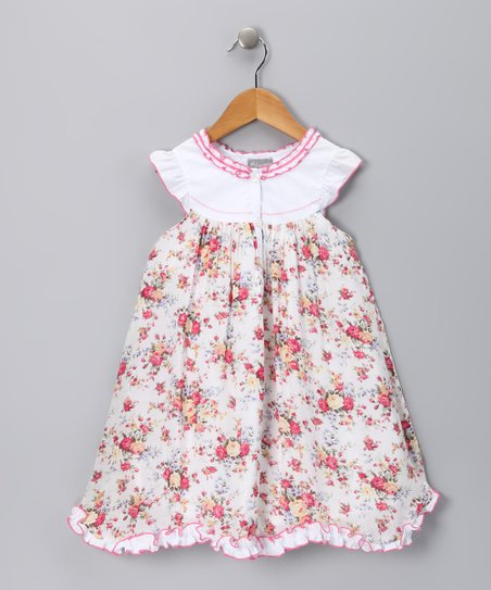 Pink Floral Ruffle Carambole Dress – Toddler & Girls