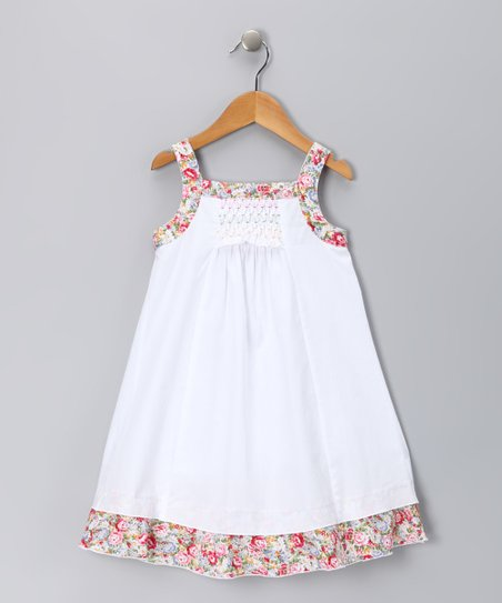 White & Pink Floral Candy Dress – Infant, Toddler & Girls