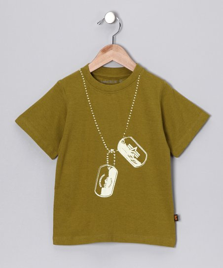 Olive Green Dog Tag Tee - Boys