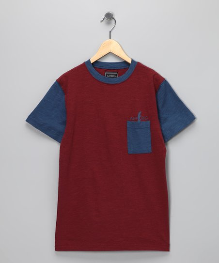 Burgundy & Blue Geoff Tee - Boys & Adult