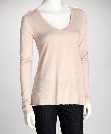 Lychee Long-Sleeve V-Neck Top