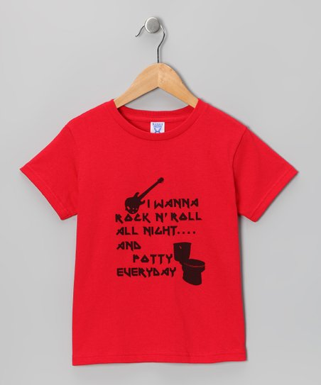 Red 'Rock 'n' Roll All Night' Tee - Toddler & Kids