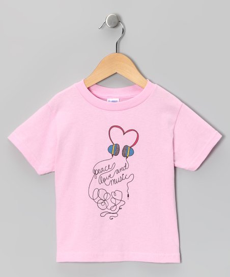 Pink 'Peace Love and Music' Tee - Toddler & Kids