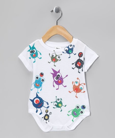 White Monsters Everywhere Sublimation Bodysuit - Infant