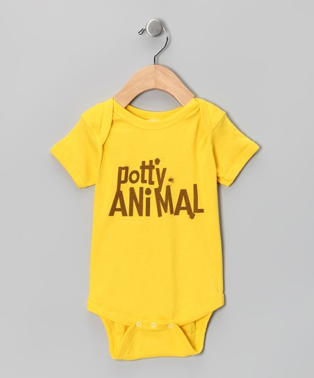 Yellow 'Potty Animal' Bodysuit - Infant