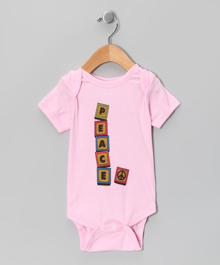 Light Pink 'Peace' Block Bodysuit - Infant