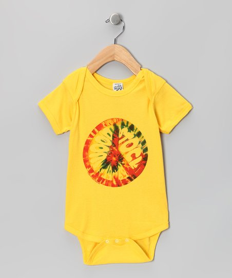Yellow 'Woodstock' Tie-Dye Peace Sign Bodysuit - Infant