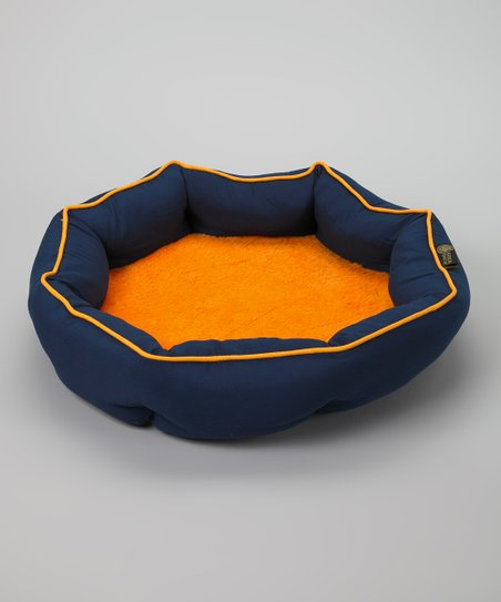 Navy & Orange Round Orthopedic Cuddler Pet Bed