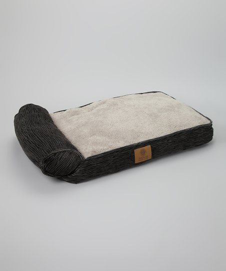 Black One Arm Bolster Textured Pet Bed