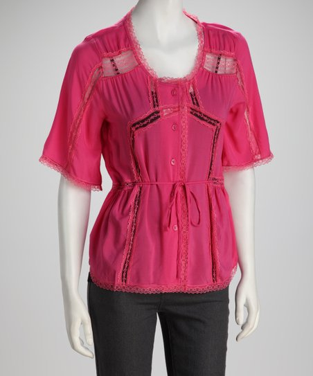Pink Tie-Waist Button-Up Top - Women