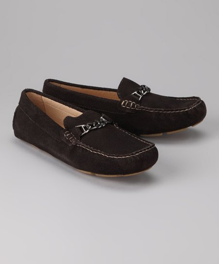 Amiana Brown Suede Chain Loafer
