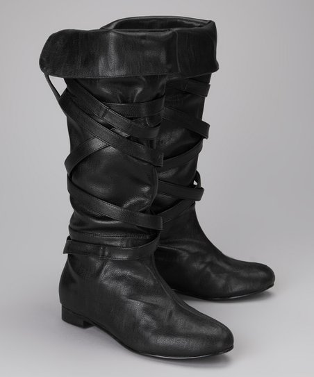 Amiana Black Crisscross Boot