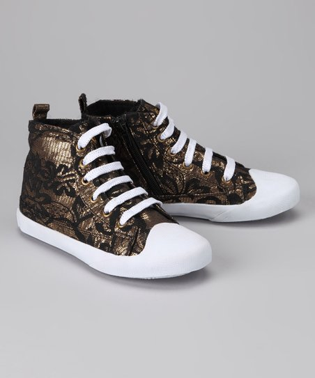 Amiana Gold Lace Hi-Top Sneaker