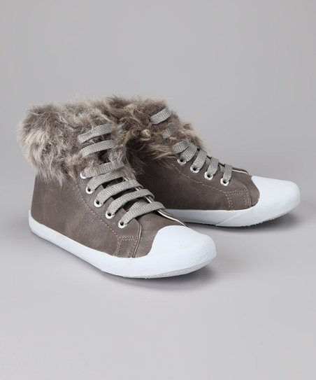 Amiana Gray Faux Fur Hi-Top Sneaker
