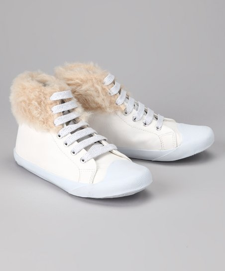 Amiana White Faux Fur Hi-Top Sneaker