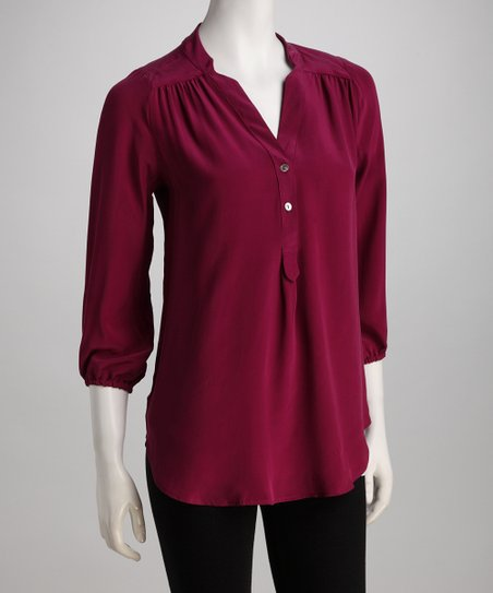 Burgundy Amy Silk Top
