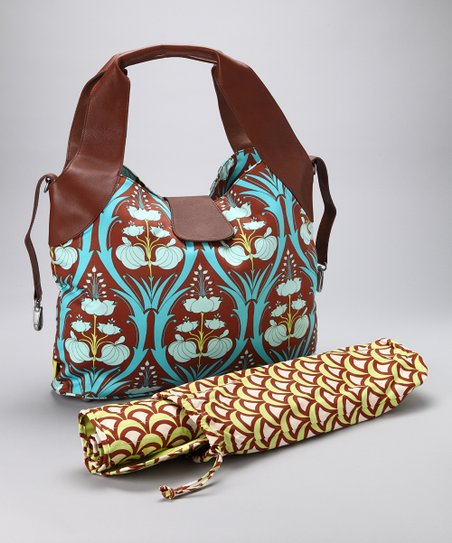 Turquoise Passion Lily Wildflower Organic Diaper Bag