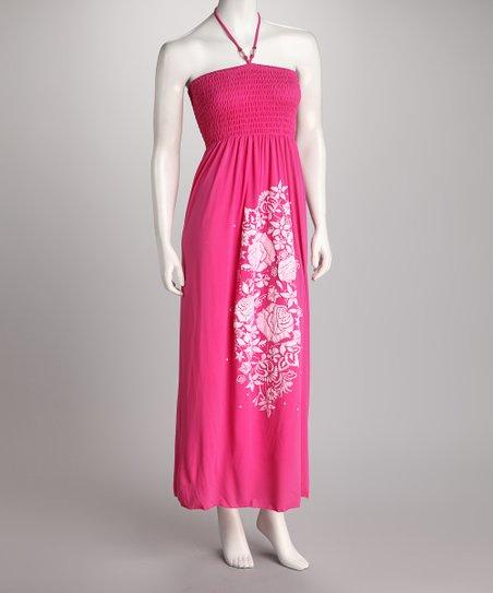 Pink Roses Shirred Maxi Dress