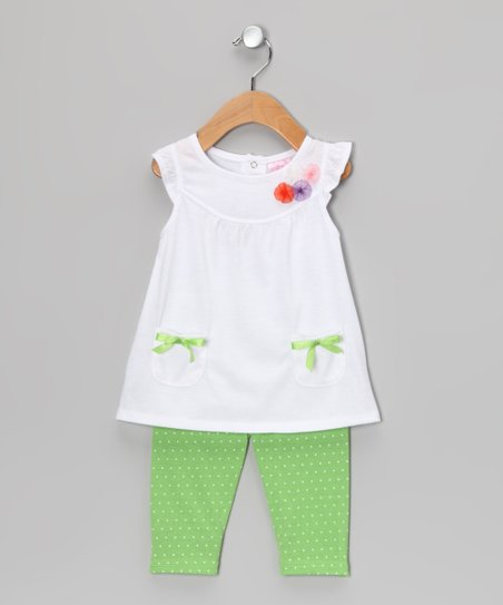 White Bow Tunic & Green Leggings - Infant