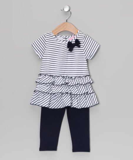 Black Stripe Ruffle Tunic & Leggings - Infant