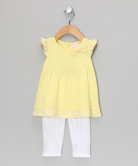 Yellow Angel-Sleeve Tunic & White Leggings - Infant & Toddler
