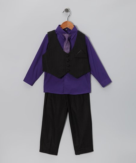 Black & Eggplant Vest Set - Infant, Toddler & Boys