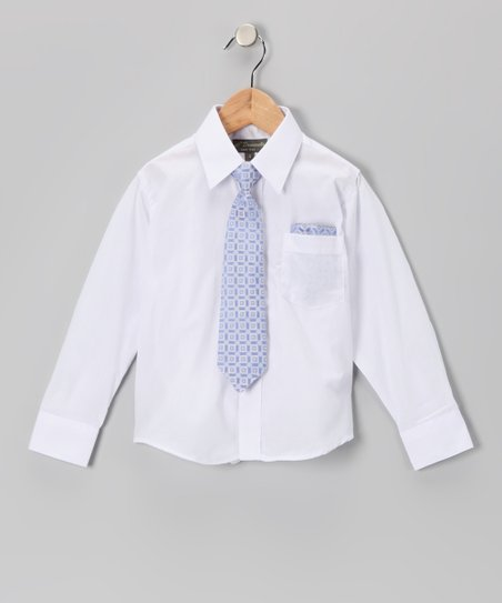 White & Blue Shirt Set - Infant, Toddler & Boys