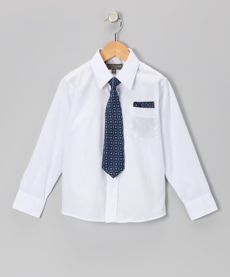 White &amp; Navy Shirt Set - Infant, Toddler &amp; Boys