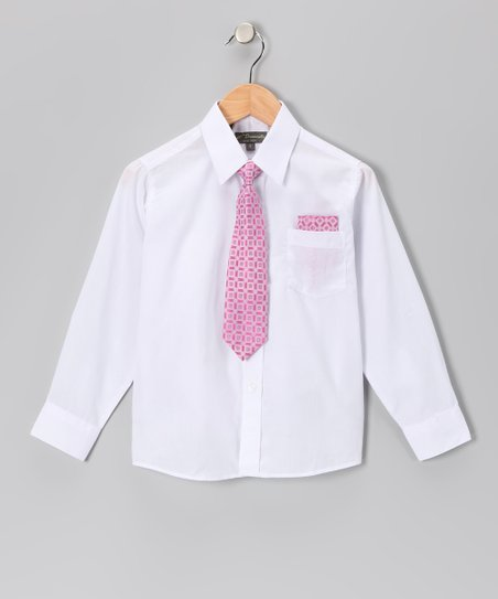 White & Pink Shirt Set - Infant, Toddler & Boys